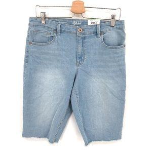 NEW Style & Co Cutoff Bermuda Jean Shorts Light wash Blue high rise 14 women's